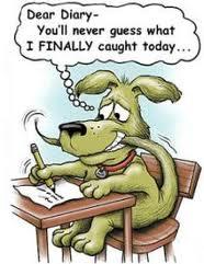Rolig bild av hund som skriver dagbok..
